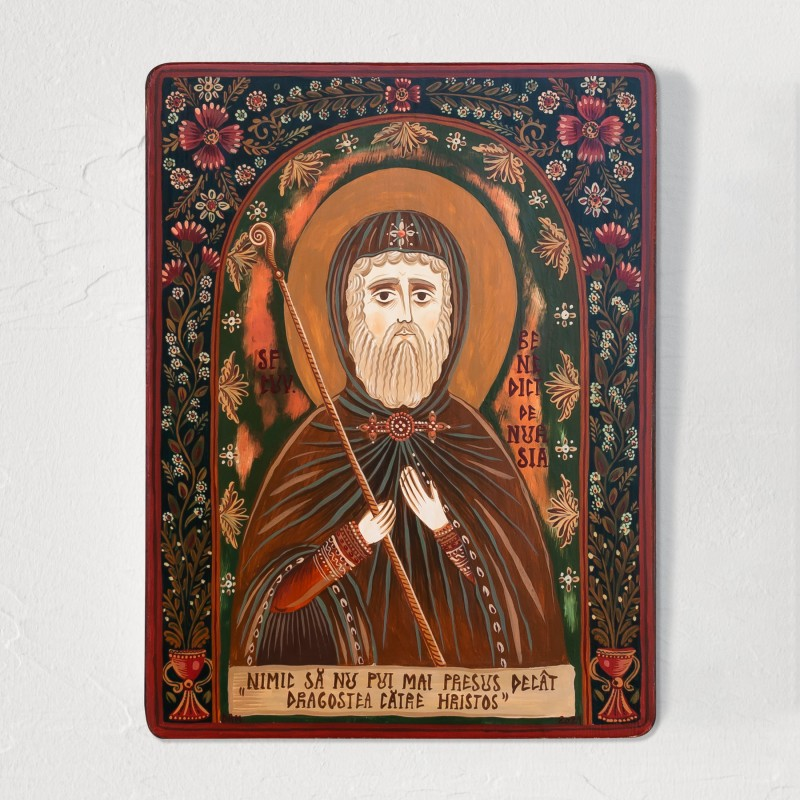 """Icoană pe lemn """"Sfântul Benedict de Nursia"""""""