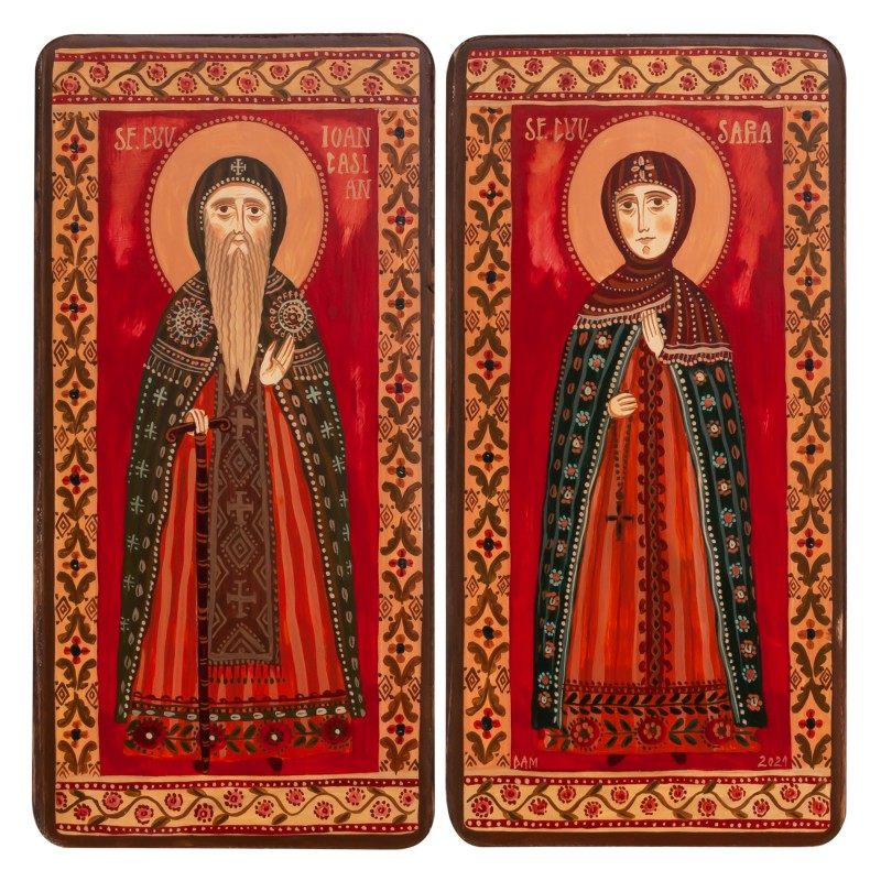 "Icoană pe lemn tip diptic ""Sf. Ioan Casian și Sf. Cuv. Sara"", 2 x 10x20cm"