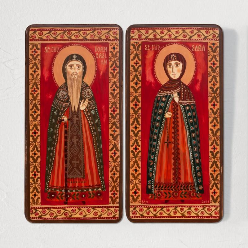 "copy of Wood icon, diptych, ""St. John Cassian and Saint Sarah"", 2 x 10x20 cm"