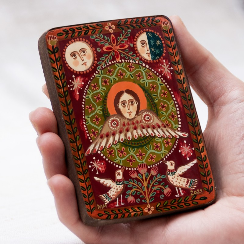 "Wood icon, ""Cherubim"", miniature, 7x10cm"