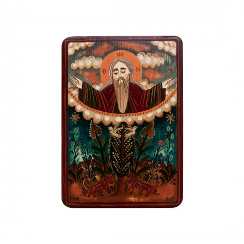 "Wood icon, ""God the Father"", miniature, 7x10cm"