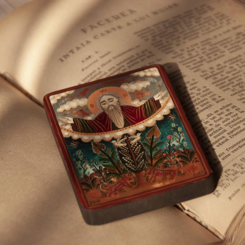 """Icoană pe lemn """"Dumnezeu Tatăl"""", miniatură, 7x10 cm"""