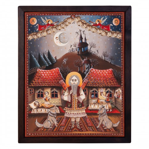 """Canvas painting, """"The night of Saint Andrew"""", 40x50 cm, wooden frame, manually painted"""