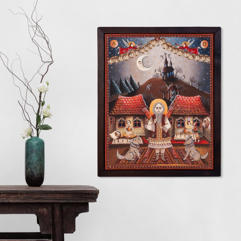 """Canvas painting, """"The night of Saint Andrew"""", 40x50 cm, wooden frame"""