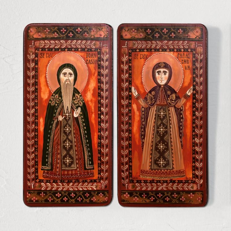"""Icoană pe lemn tip diptic """"Sf. Parascheva și Sf. Ioan Casian"""", 2 x 10x20cm"""