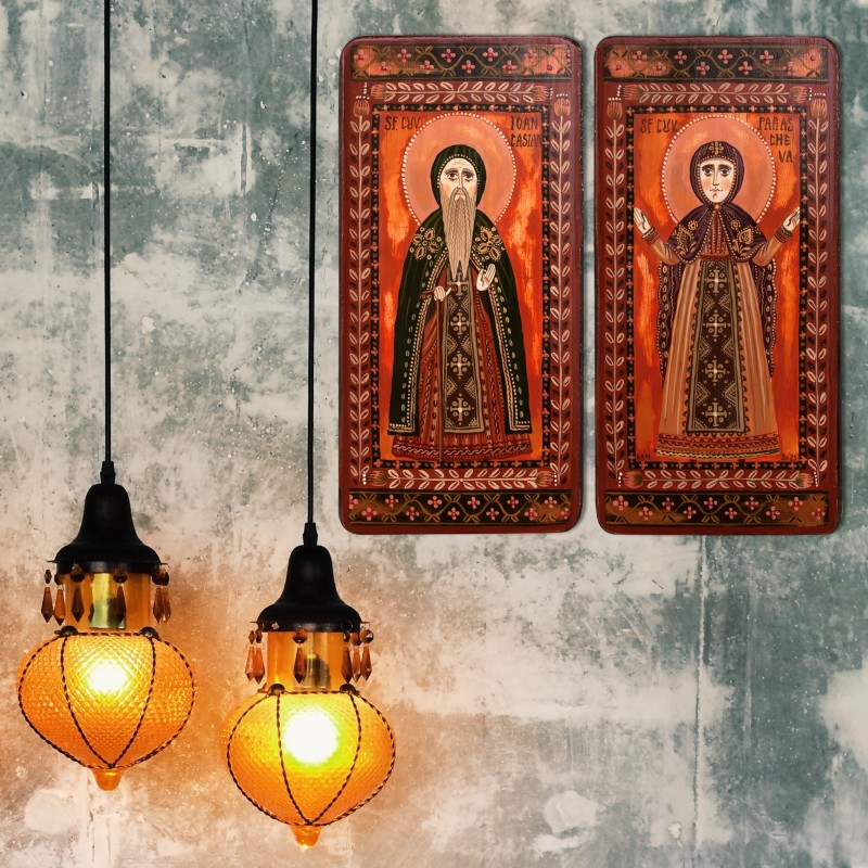 """Wood icon, diptych, """"St. Parascheva and John Cassian"""", 2 x 10x20 cm (N)"""