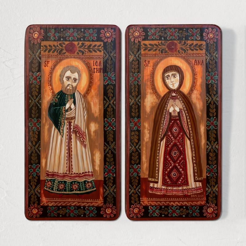 "Icoană pe lemn tip diptic ""Sfinții Ioachim și Ana"", 2 x 10x20cm"