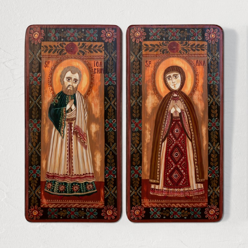 "Wood icon, diptych, ""Saints Joachim and Anna"", model 2, 2 x 10x20 cm"