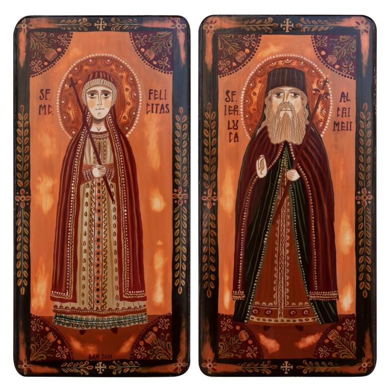 """Icoană pe lemn tip diptic """"Sf. Mc. Felicitas și Sf. Luca al Crimeei"""", 2 x 10x20cm"""