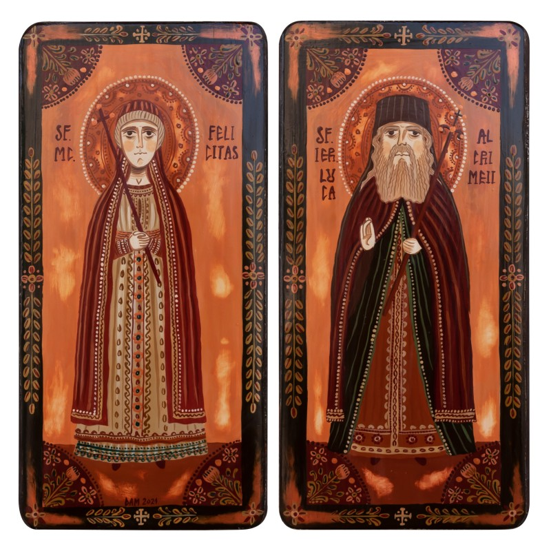 """Wood icon, diptych, """"St. Felicitas of Rome and St. Luke"""", model 2, 2 x 10x20 cm"""