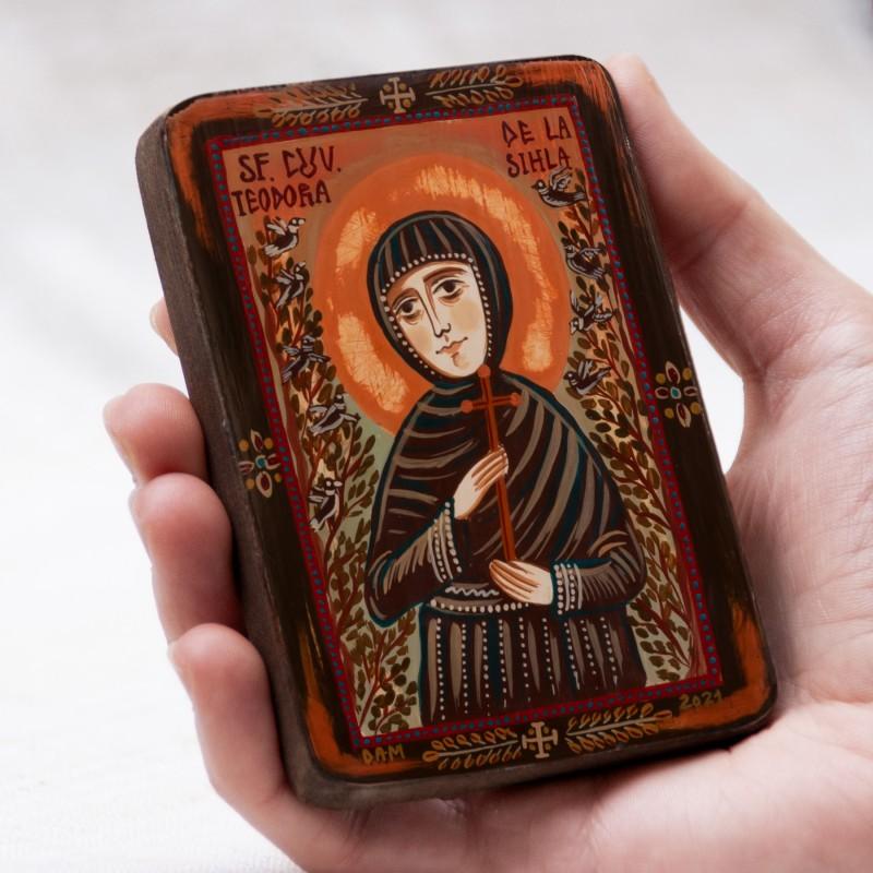"""Icoană pe lemn """"Sf. Teodora de la Siha"""", miniatură, 7x10 cm"""