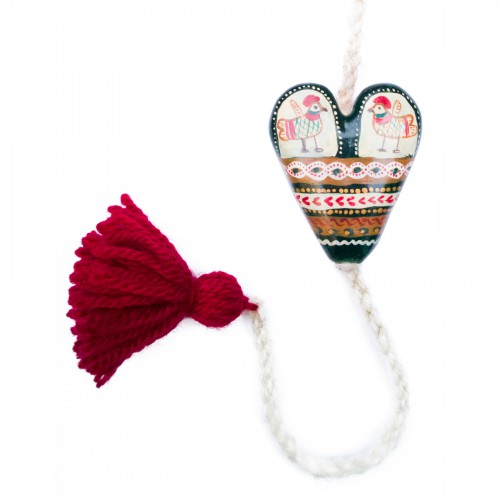 Heart figurine with tassel, model 7, 4.5x5.5 cm