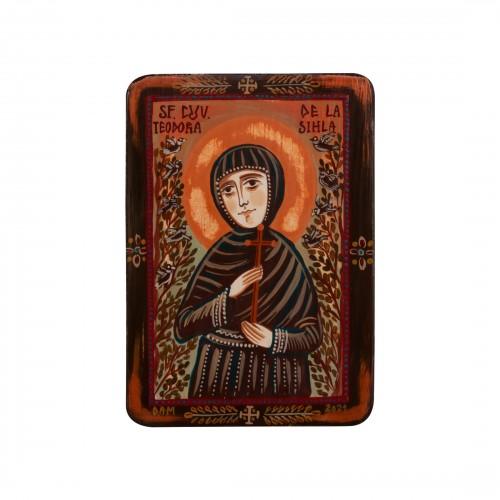 """Icoană pe lemn """"Sf. Teodora de la Sihla"""", miniatură, 7x10 cm"""