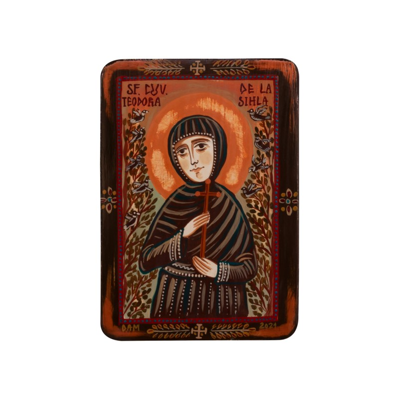"Wood icon, ""Saint Theodora of Sihla"", miniature, 7x10cm"