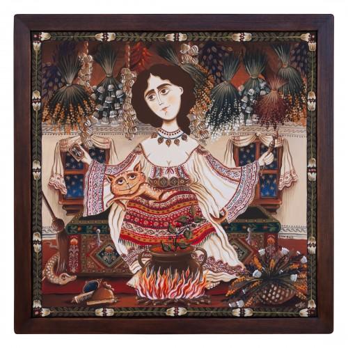 """Tablou pe pânză """"Șaraiman"""", 40x40 cm, ramă lemn, pictat manual"""