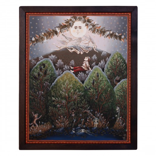 """Canvas painting, """"The night of the Fairies"""", 40x50 cm, wooden frame, manually painted"""