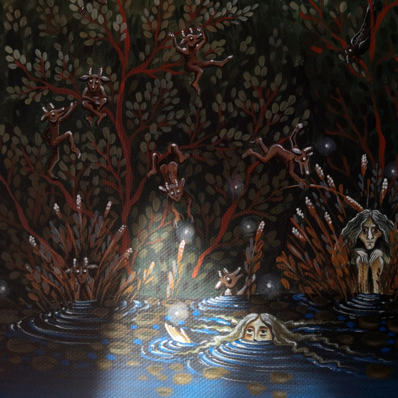 """Canvas painting, """"The night of the Fairies"""", 40x50 cm, wooden frame"""