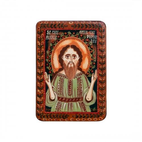 """Icoană pe lemn """"Sf. Alexie, omul lui Dumnezeu"""", miniatură, 7x10 cm"""