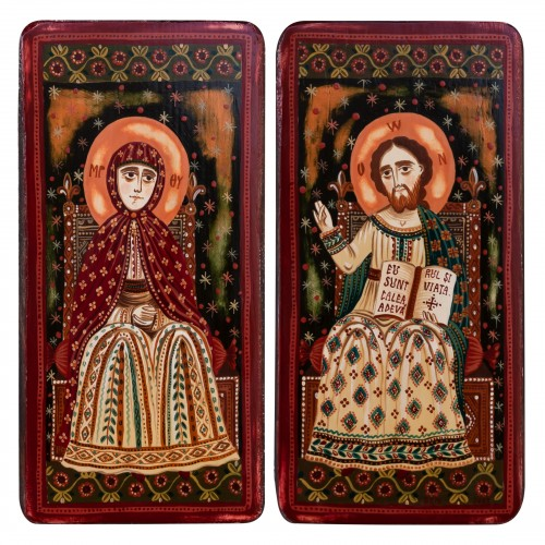 """Wood icon, diptych, """"Jesus Christ and Virgin Mary"""", model 2, 2 x 10x20 cm"""