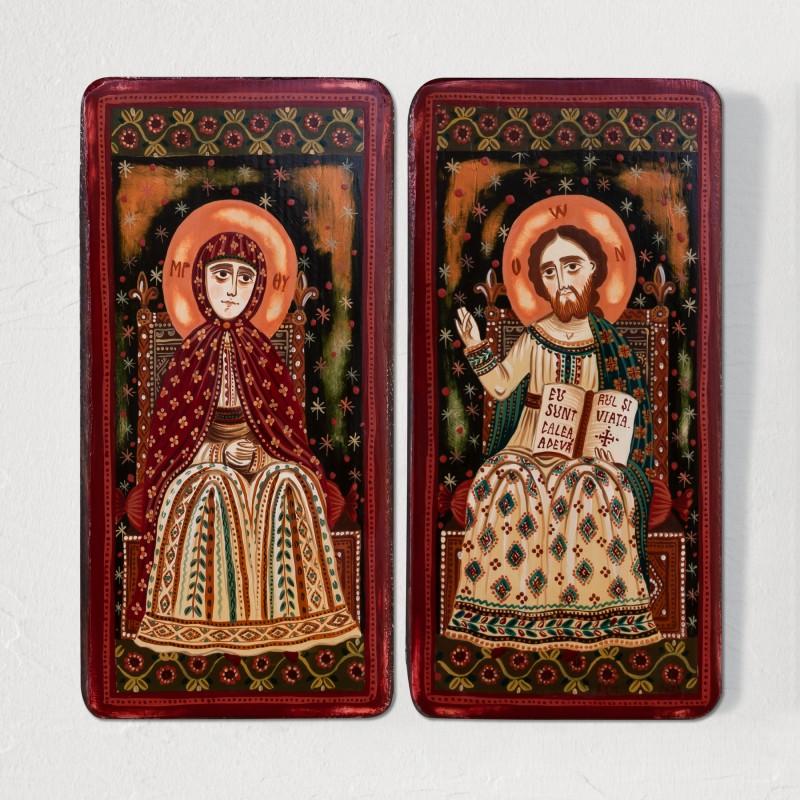 """Icoană pe lemn tip diptic """"Iisus Hristos și Maica Domnului"""", model 2, 2 x 10x20cm"""