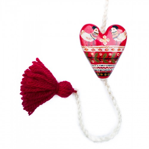 Heart figurine with tassel, model 8, 4.5x5.5 cm