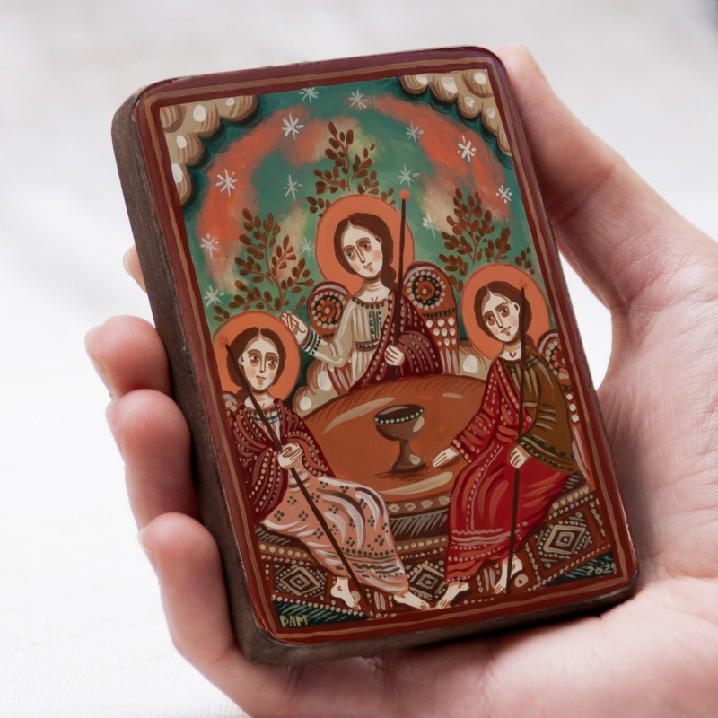 "Wood icon, ""Holy Trinity"", miniature, 7x10cm"