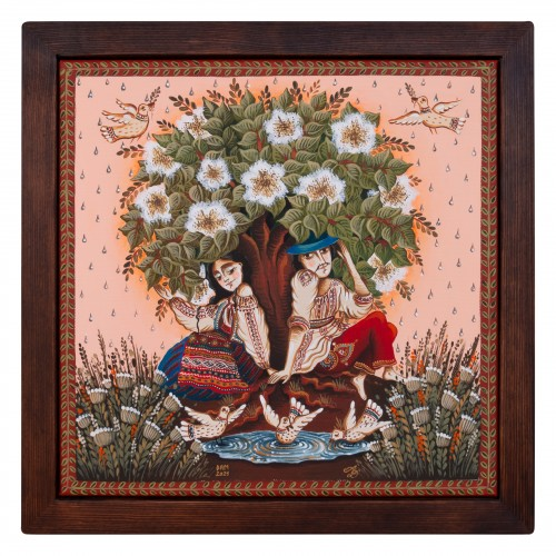 """Tablou pe pânză """"Ploaie de mai"""", 30x30 cm, ramă lemn, pictat manual"""