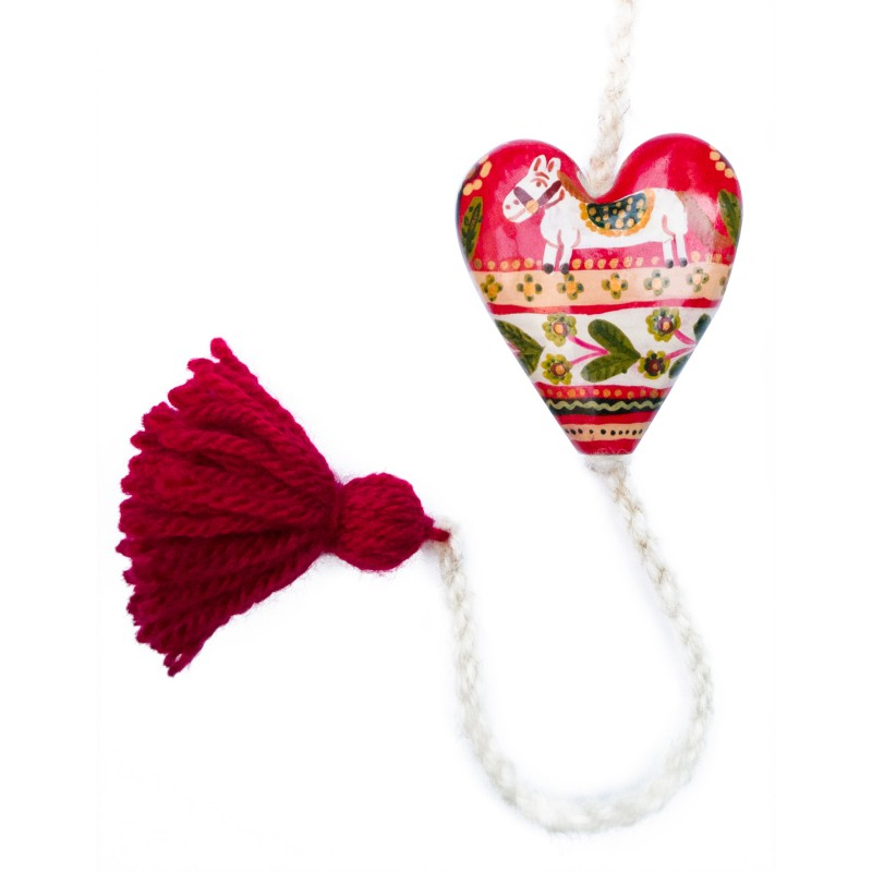Heart figurine with tassel, model 9, 4.5x5.5 cm