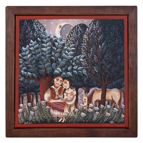 """Canvas painting, """"Away from the world"""", 30x30 cm, wooden frame, manually painted"""