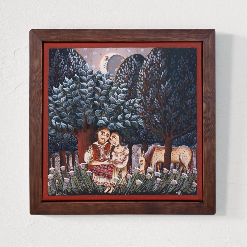 """Canvas painting, """"Away from the world"""", 30x30 cm, wooden frame"""