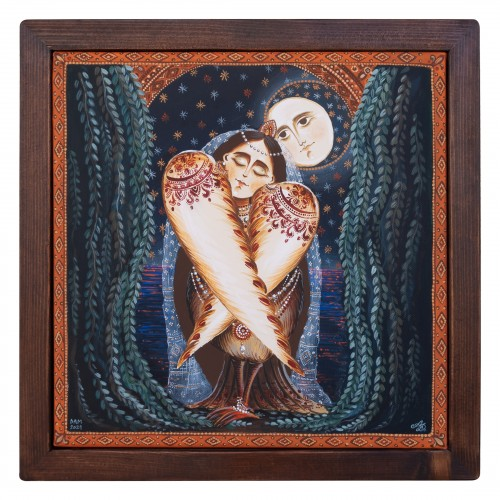 """Canvas painting, """"Sleeping Rusalka"""", 30x30 cm, wooden frame, manually painted"""