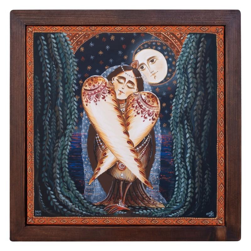"Canvas painting, ""Sleeping Rusalka"", 30x30 cm, wooden frame"