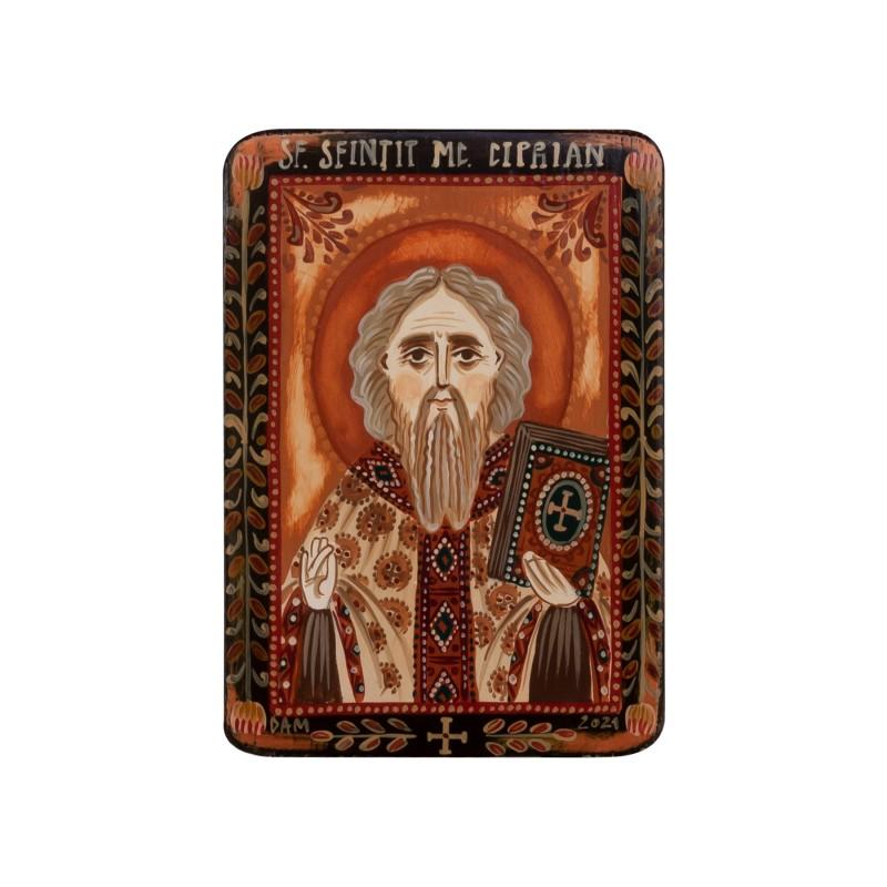 """Icoană pe lemn """"Sfântul Ciprian"""", miniatură, 7x10 cm"""