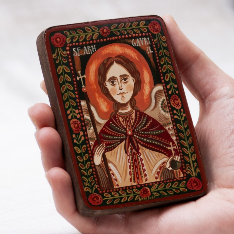 "Wood icon, ""Saint Archangel Gabriel"", miniature, 7x10cm"