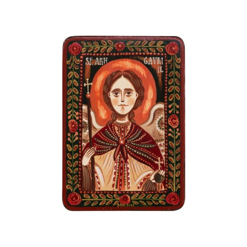 """Icoană pe lemn """"Sfântul Arh. Gavriil"""", miniatură, 7x10 cm"""