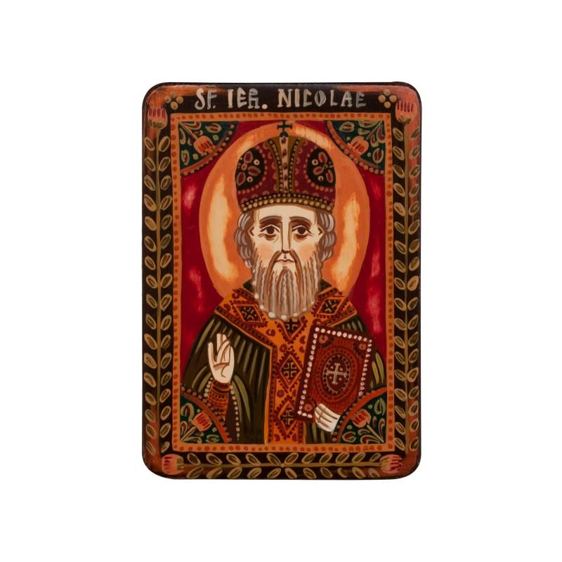 """Icoană pe lemn """"Sfântul Nicolae"""", miniatură, 7x10 cm"""