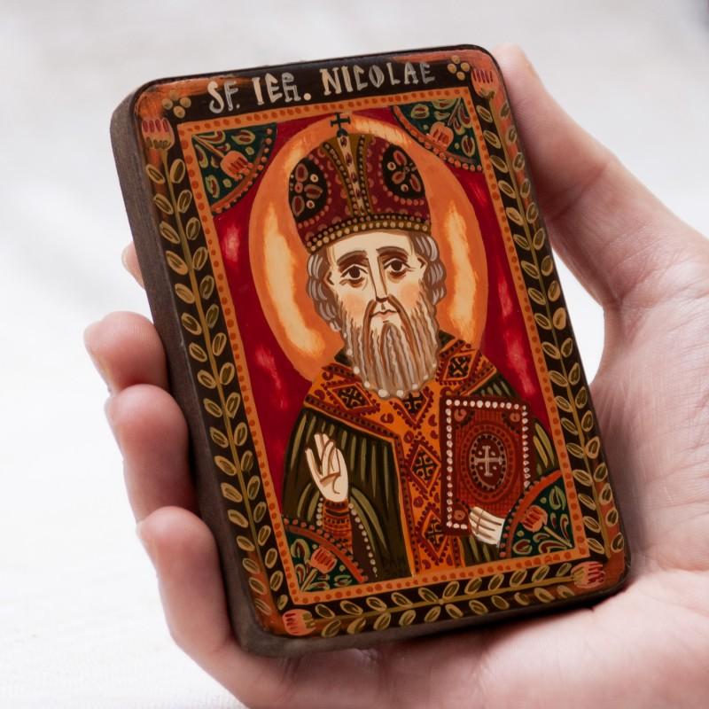 "Wood icon, ""Saint Nicholas"", miniature, 7x10cm"