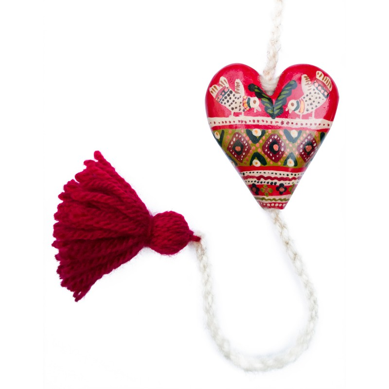 Heart figurine with tassel, model 11, 4.5x5.5 cm