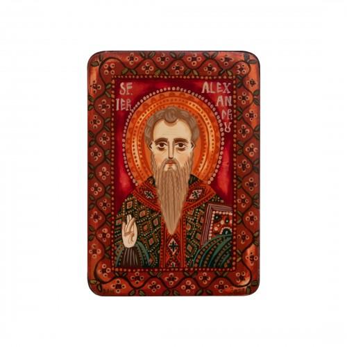 "Wood icon, ""Saint Alexander"", miniature, 7x10cm"