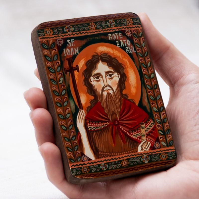 """Icoană pe lemn """"Sfântul Ioan Botezătorul"""", miniatură, 7x10 cm"""