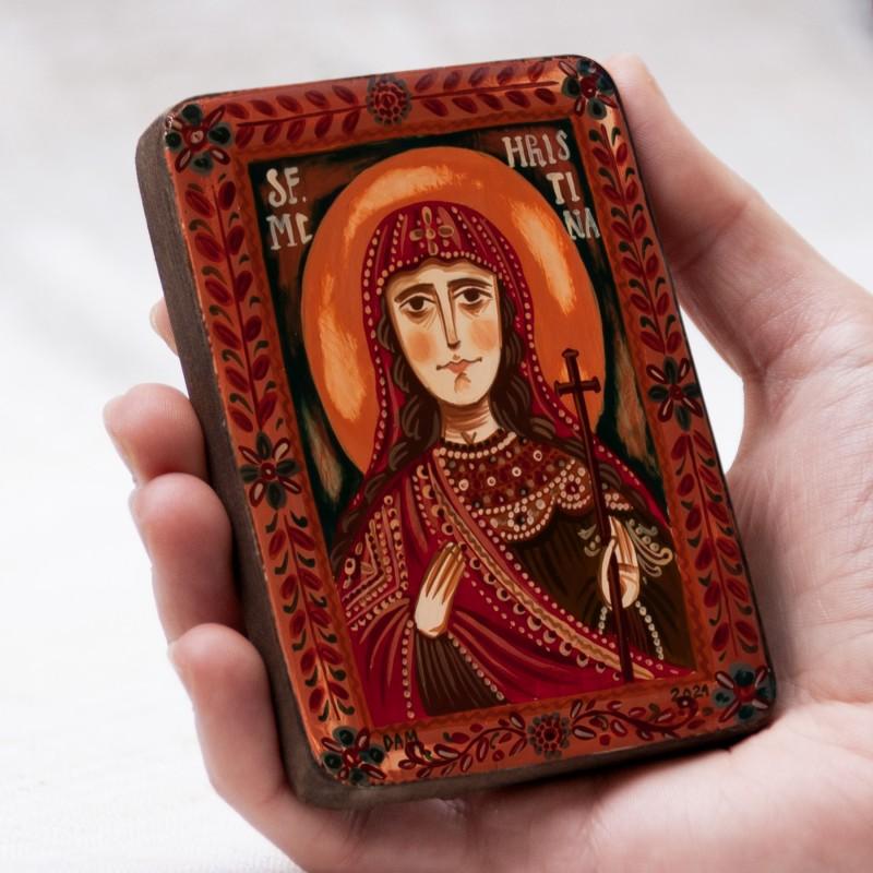 """Icoană pe lemn """"Sf. M. Mc. Hristina (Cristina)"""", miniatură, 7x10 cm"""