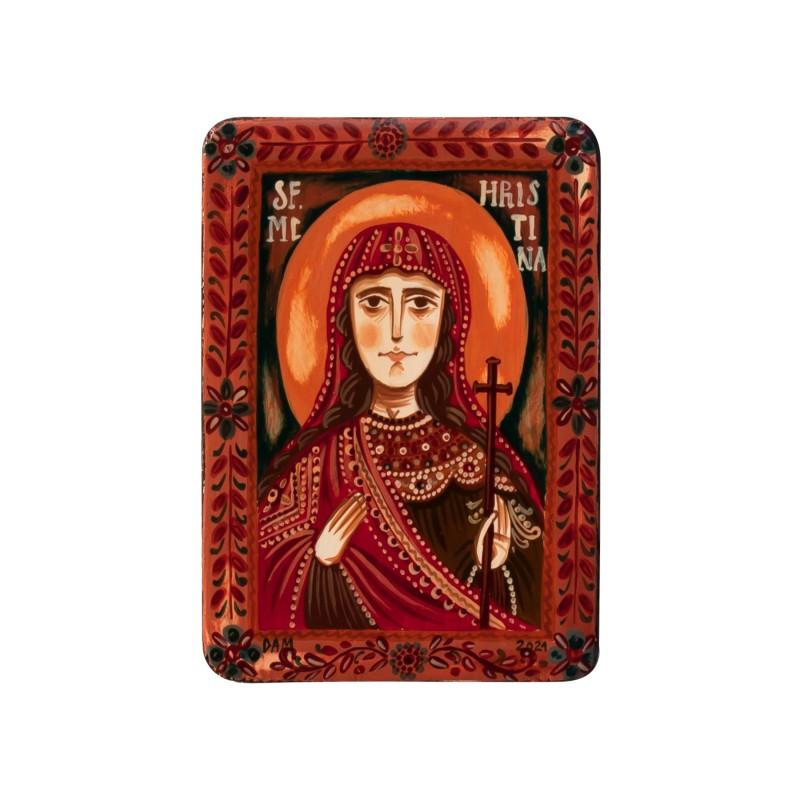 "Wood icon, ""Christina of Bolsena"", miniature, 7x10cm"