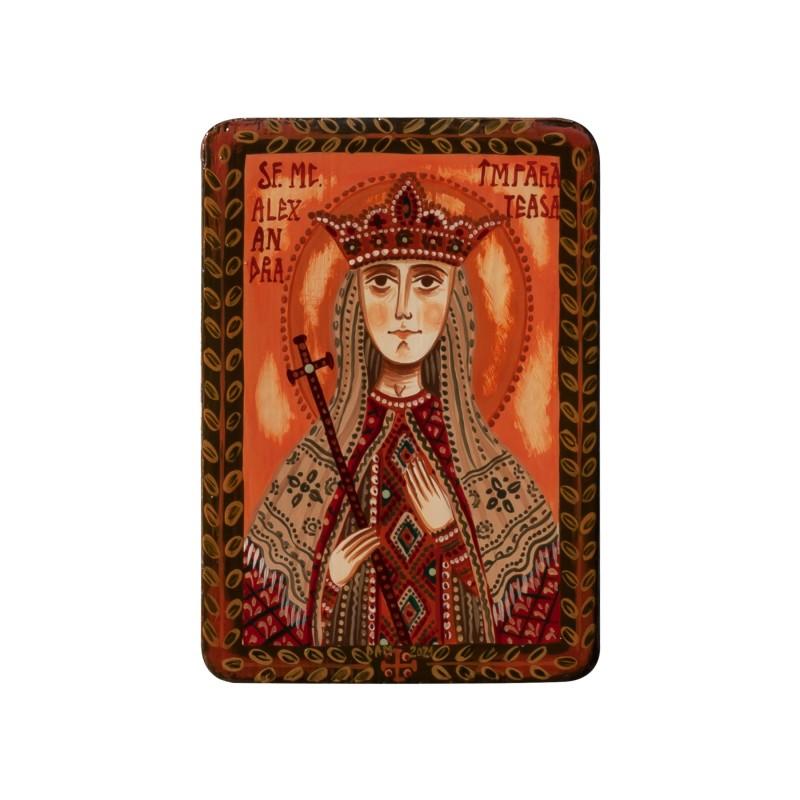 "Wood icon, ""Saint Alexandra the Empress"", miniature, 7x10cm"