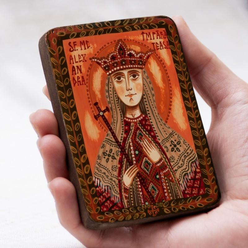"""Icoană pe lemn """"Sfânta Muceniță Alexandra, împărăteasa"""", miniatură, 7x10 cm"""