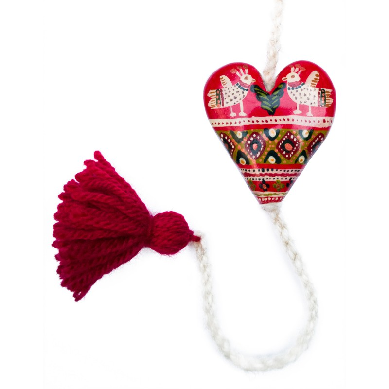 Heart figurine with tassel, model 11, 4.5x5.5 cm