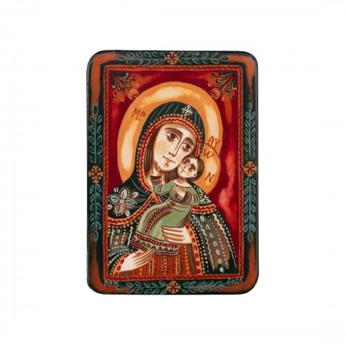 "Wood icon, ""Panagia Glykophilousa - Sweet-kissing"", miniature, 7x10cm"