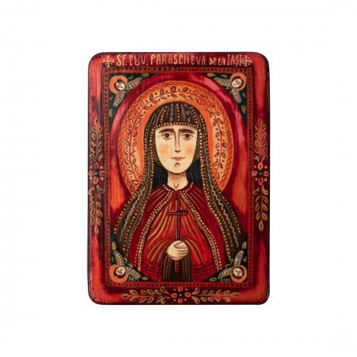 """Icoană pe lemn """"Sfânta Cuvioasă Parascheva"""", miniatură, 7x10 cm"""