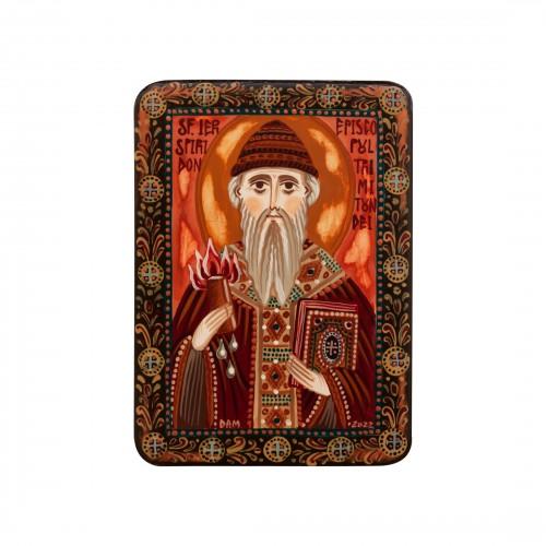 "Wood icon, ""Saint Spyridon of Trimythous"", miniature, 7x10cm"