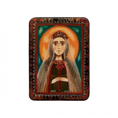 """Icoană pe lemn """"Sfânta Muceniță Iustina"""", miniatură, 7x10 cm"""
