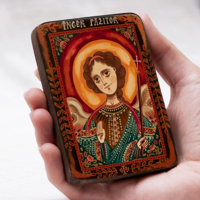 """Icoană pe lemn """"Înger Păzitor"""", miniatură, 7x10 cm"""